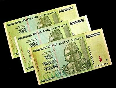 3 Zimbabwe banknotes-3 x 10 trillion dollars/2008/AA -circulated  currency