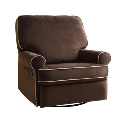 Prime Resources Birch Hill Swivel Glider Recliner Chair with Doe Piping, Brown