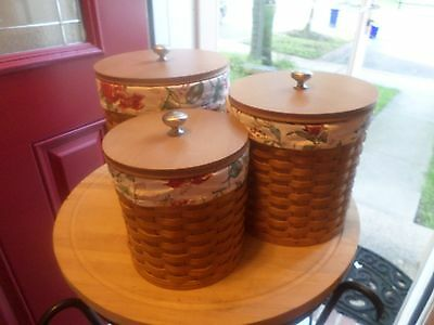 Longaberger  Canister Set With 2Pc Protectors And Floral Liners--Very Nice