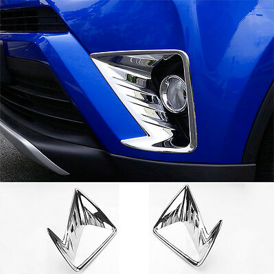 Fit For 2016-2017 Toyota Rav4 Chrome Front Fog Light Head Lamp Cover Trim Bezel