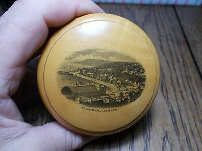 Antique Mauchline Ware Cotton Reel Circular  Box St Aubin Jersey