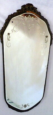 "LOVELY Antique Carved Roses Etched Venetian Mirror 27"" x 13"" Victorian"