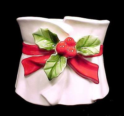 Lefton China Christmas Holly Berries Planter Flower Pot Candy Dish Japan Vintage
