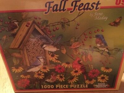 SEALED New Fall Feast Birds at Bird Feeder White Mountain Puzzle 1000 pc