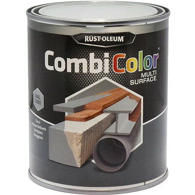 Rust-Oleum CombiColor Multi-Surface Paint Steel Grey Gloss 750ml RAL 7001