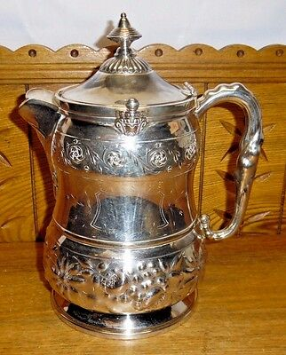 Beautiful Antique 1878 Reed & Barton Porcelain Lined Silverplate Water Pitcher