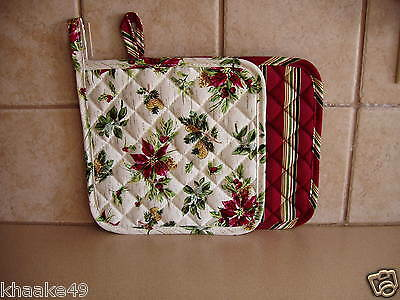 Longaberger Holiday Botanical / Holiday Stripe Pot Holder Set Nip Free Shipping