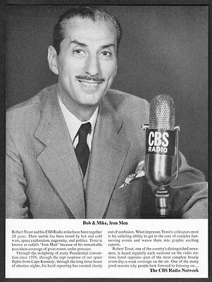 "1964 CBS News Radio Network Robert Trout photo ""Iron Man"" vintage print ad"
