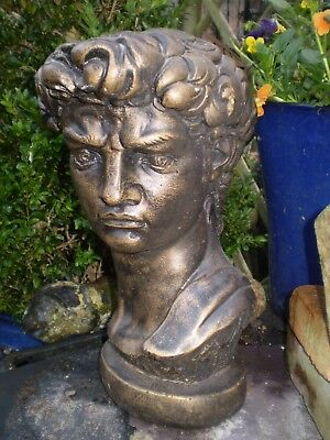 Vintage English 1930'S Céramique Garden Statue Buste de Roi David
