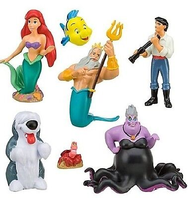 The Little Mermaid Ariel Playset 7 Figure Cake Topper * USA SELLER* Toy Doll Set