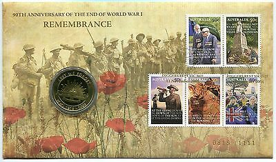 2008 Remembrance 50th Anniversary End of WWI FDC/PNC - Gold Foil PMKs 0815/1111