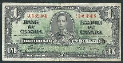 "Canada 1937 One Dollar Banknote, ""k.george Vi"" B1066 Low Price & $1.00 Usa Ship"