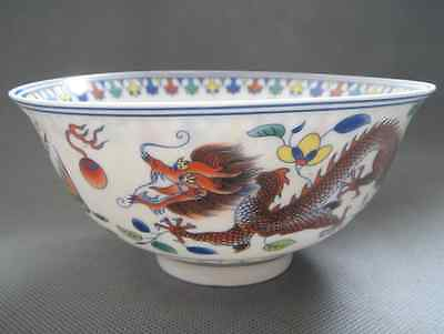 Old Chinese jingdezhen Famille Rose Porcelain Bowl Painted Lucky Dragon phoenix