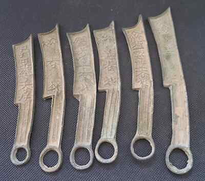 Collect 6pcs Chinese Bronze Knife shape Coin Old Dynasty Antique Currency Cash