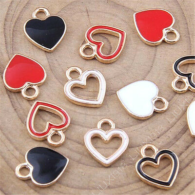Enamel Gold Plated Charms Love Heart Small Pendant DIY Bead Jewelry Making /1048