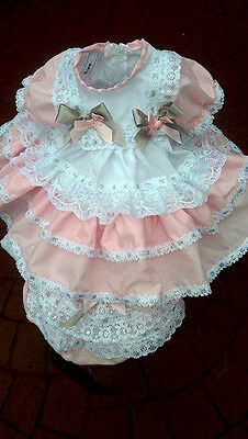 Dream Girls 2-3 Years Spanish Silver & Pink Netted Frilly Dress & Pants Set