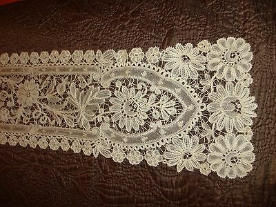"Beautiful Antique Handmade Bruges Mixed Lace Neck Piece or Runner 53"" x 5 1/2"""