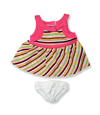 """Multi striped dress & knickers outfit teddy bear clothes fits 15"""" Build a Bear"""