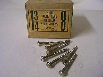 "#8 x 1 3/4"" Round Head Nickel Plated Wood Screws Slotted Made in USA Qty. 135"