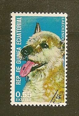 Dog Art Head Study Postage Stamp BELGIAN SHEEPDOG LAEKENOIS EquatorialGuinea CTO