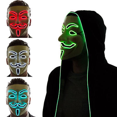 LED Light Up Vendetta Anonymous Guy Fawkes Neon Rave Halloween Cosplay Mask Hot