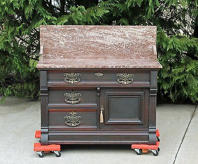 Huge OVERSIZE Victorian Walnut & Burl Tennessee Brown Marble Top Washstand c1880