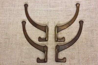 4 Coat Hooks craftsman house bath robe old vintage clothes tree rustic brass