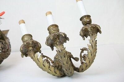 Antique Wall Sconce Pair Electric 3 Lights Neo Classical Grape Bunches Leaves