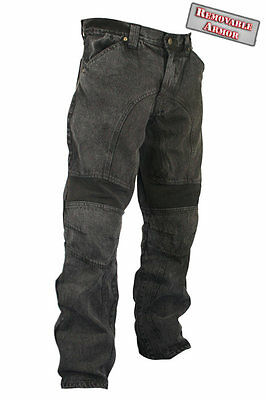 Xelement Men's Classic Fit Black Stonewash Denim Motorcycle Racing Pants