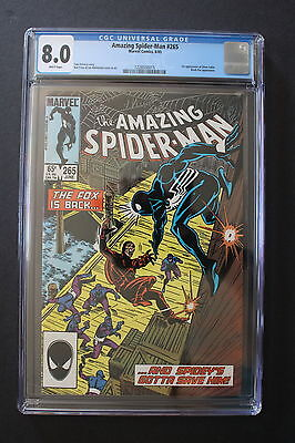 AMAZING SPIDER-MAN #265 1st SILVER SABLE 1985 1st Print B.Cat MOVIE CGC VF 8.0