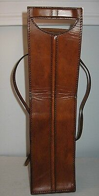 Rustic Leather WINE bottle carrier carry case travel tie bag sack nice quality!