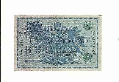 Germany Currency 1908 Reichsbanknote 100 Mark Green Serial Number & Seal Money !