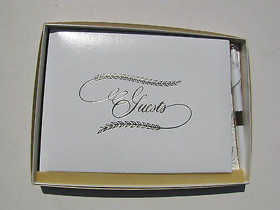 CR Gibson Gold Stamped Guest Book With Pen White 9-3/4-Inch by 7 Inch New