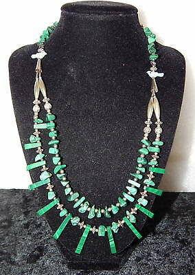 Vintage Navajo Indian Crafted Bird Totem Necklace Sterling Silver & Malachite