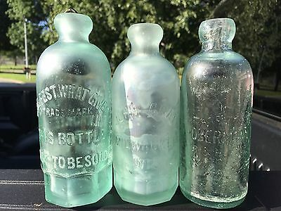 Lot Of 3 ANTIQUE JOHN GRAF OBERMANN MILWAUKEE WIS WI BLOB TOP BOTTLE-S