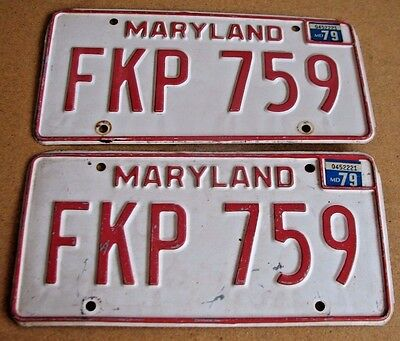 "Maryland 1979  Passenger  License Plate Plates Matching Pair  "" Fkp 759 "" Md 79"