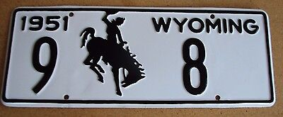 "Wyoming 1951 Low Number  Pass License Plate "" 9   8 "" Professionally Restored"