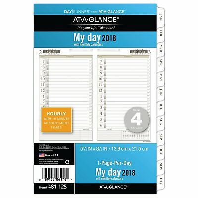 At-A-Glance 481-225-09 Two-pages-per-day Planning Pages, 5 1/2 X 8 1/2, 2018