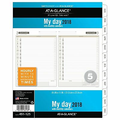 At-A-Glance 491-225 Two-pages-per-day Planning Pages Refill, 8 1/2 X 11, 2018