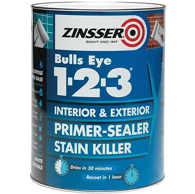 Zinsser Bulls Eye 123 Primer Sealer Stain Block Killer Interior/Exterior 5L