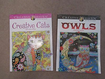 Lot of 2 Creative Haven Adult Coloring Books New Books  OWLS & CREATIVE CATS
