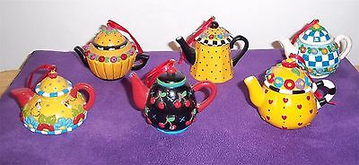 Me Mary Engelbreit Ink Vintage 6 Collectible Miniature Teapot Ornaments Flowers