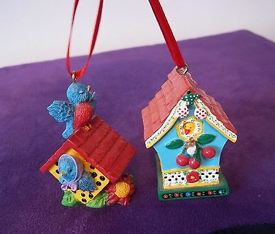 Me Mary Engelbreit Ink Vintage 2 Collectible Birdhouse Ornaments 1997 China Art