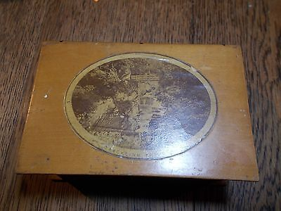Unusual Antique Victorian  Mauchline Ware Reel  Box Bracklinn Bridge Book Type