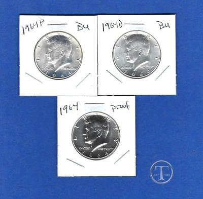 1964 P AND D BU PLUS PROOF 90% Silver Kennedy Half Dollars -Three Coin Lot