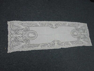 "Antique Linen & Figural Lace Table Runner 16"" X 50"""