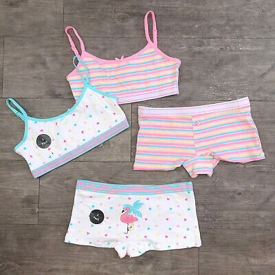 2 x Girls Primark Crop Tops First Bra / Matching Knickers Age 5-15 Unicorn Panda