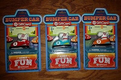 3 Target Bumper Car Bullseye Dog Hexbug Giftcard No Cash Value All 3 Colors Lot