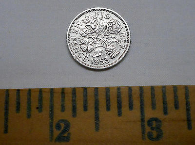 Great Britain UK 1958 Six 6 Pence Wedding Coin Rose Thistle Leek Shamrock 20