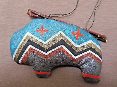 Native Navajo Handmade Soft Sculpture Buffalo Ornament by Peter Ray James  M0112